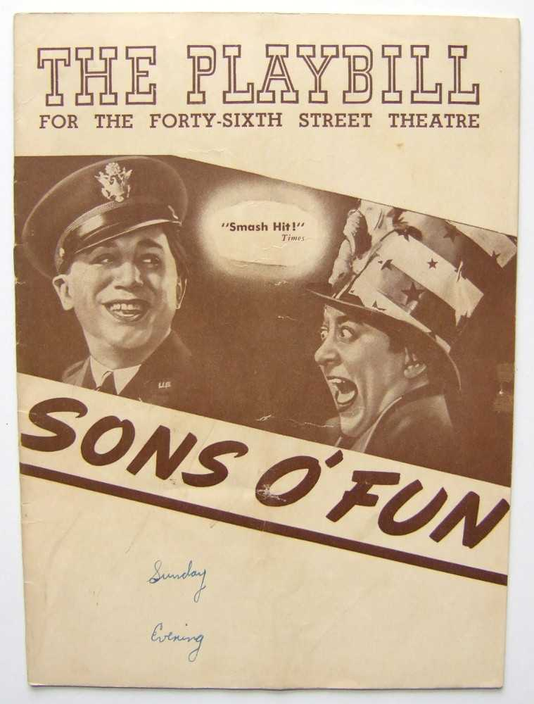 Image for Sons o' Fun: Playbill for the Forty-Sixth (46th) Street Theatre, 1943