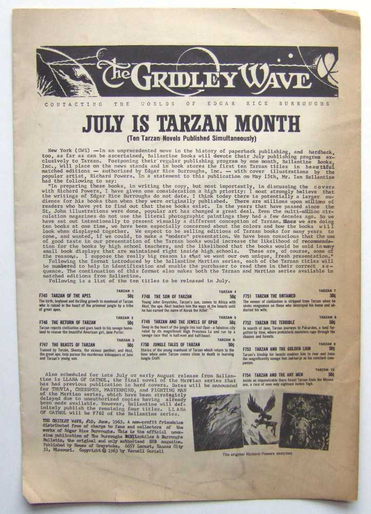 Image for The Gridley Wave: Contacting The Worlds of Edgar Rice Burroughs #10 ('zine. June 1963)