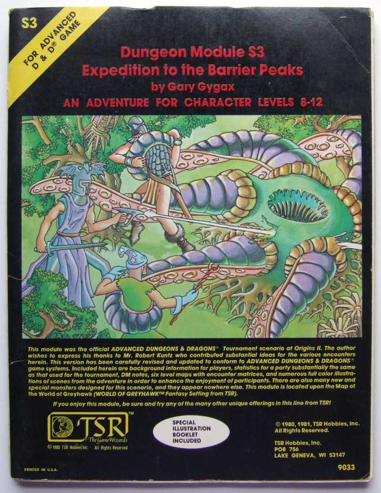Image for Expedition to the Barrier Peaks Dungeon Module S3 (AD& D Adventure for Character Levels 8-12)